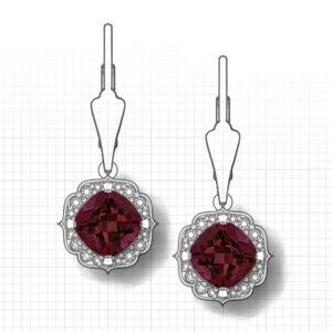 Chevron Halo Garnet Earrings