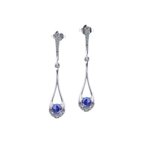 Tanzanite Teardrop Dangle Earrings