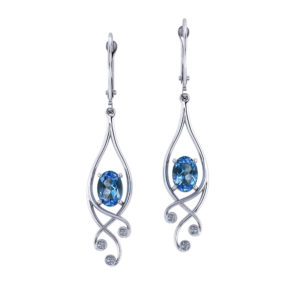 Scrolling Blue Topaz Dangle Earrings