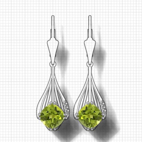Cushion Peridot Dangle Earrings