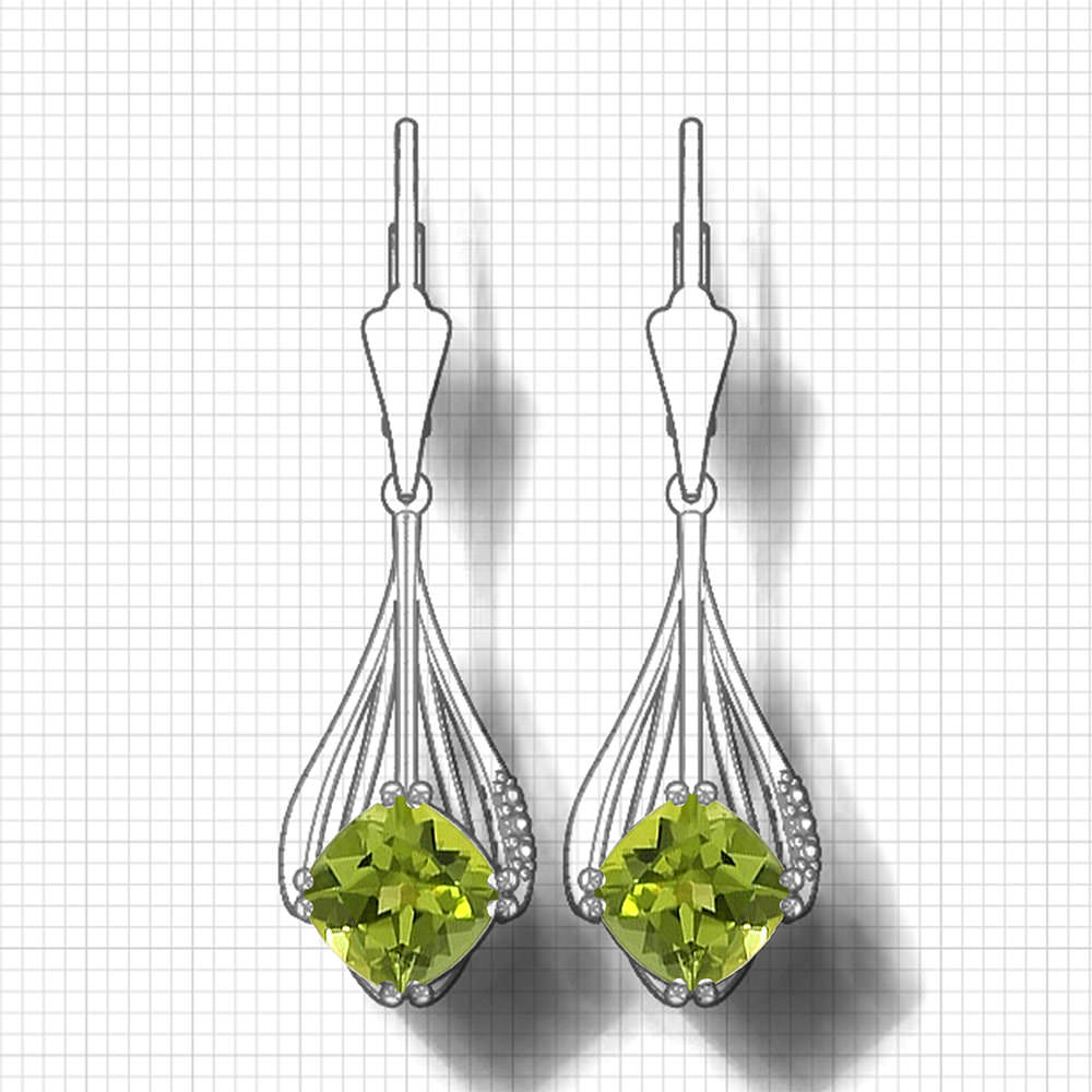 Cushion Peridot Dangle Earrings