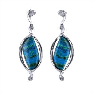 Artisan Malachite Azurite Earrings