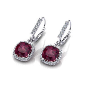 Garnet Halo Dangle Earrings