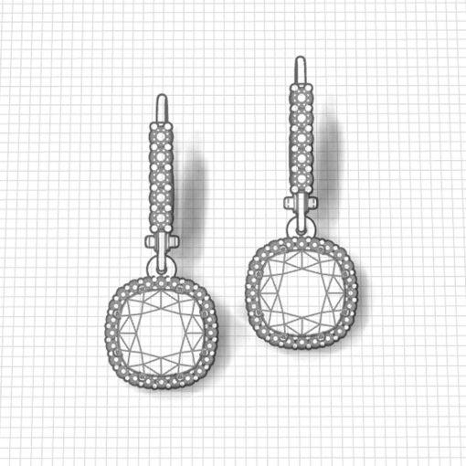 Garnet Halo Dangle Earrings