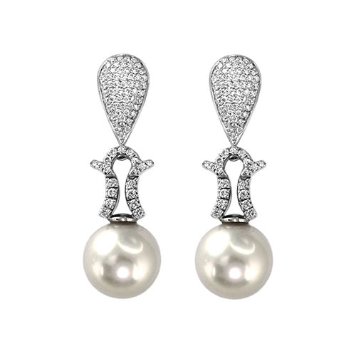 Pave South Sea Pearl Earrings