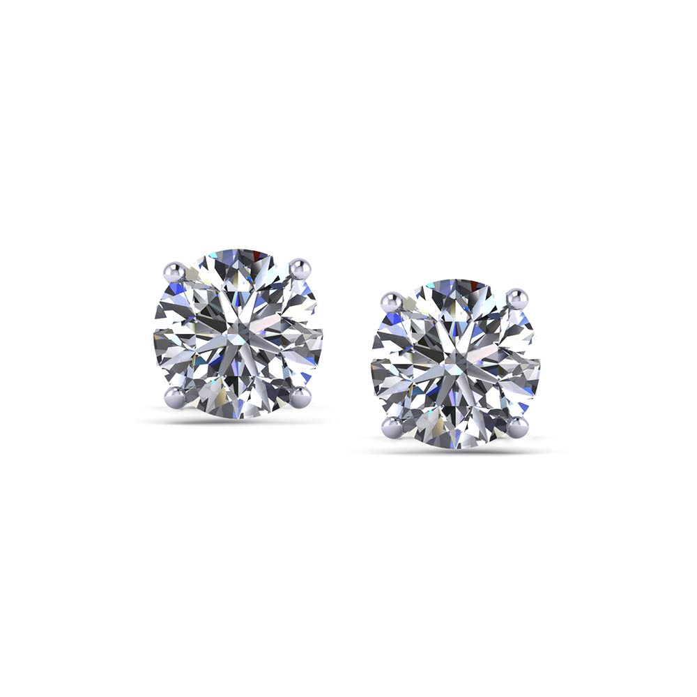 carat fancy view stud earrings round diamond cut whitegold in
