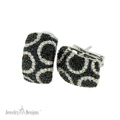 Black & White Pave Diamond Earrings