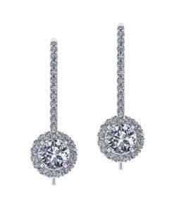 3-4 Carat Dangle Halo Earrings