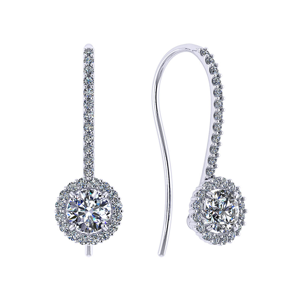 3-4 Carat Dangle Halo Earrings