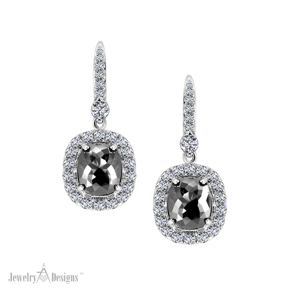 ED467-1 Elegant Black Diamond Earrings
