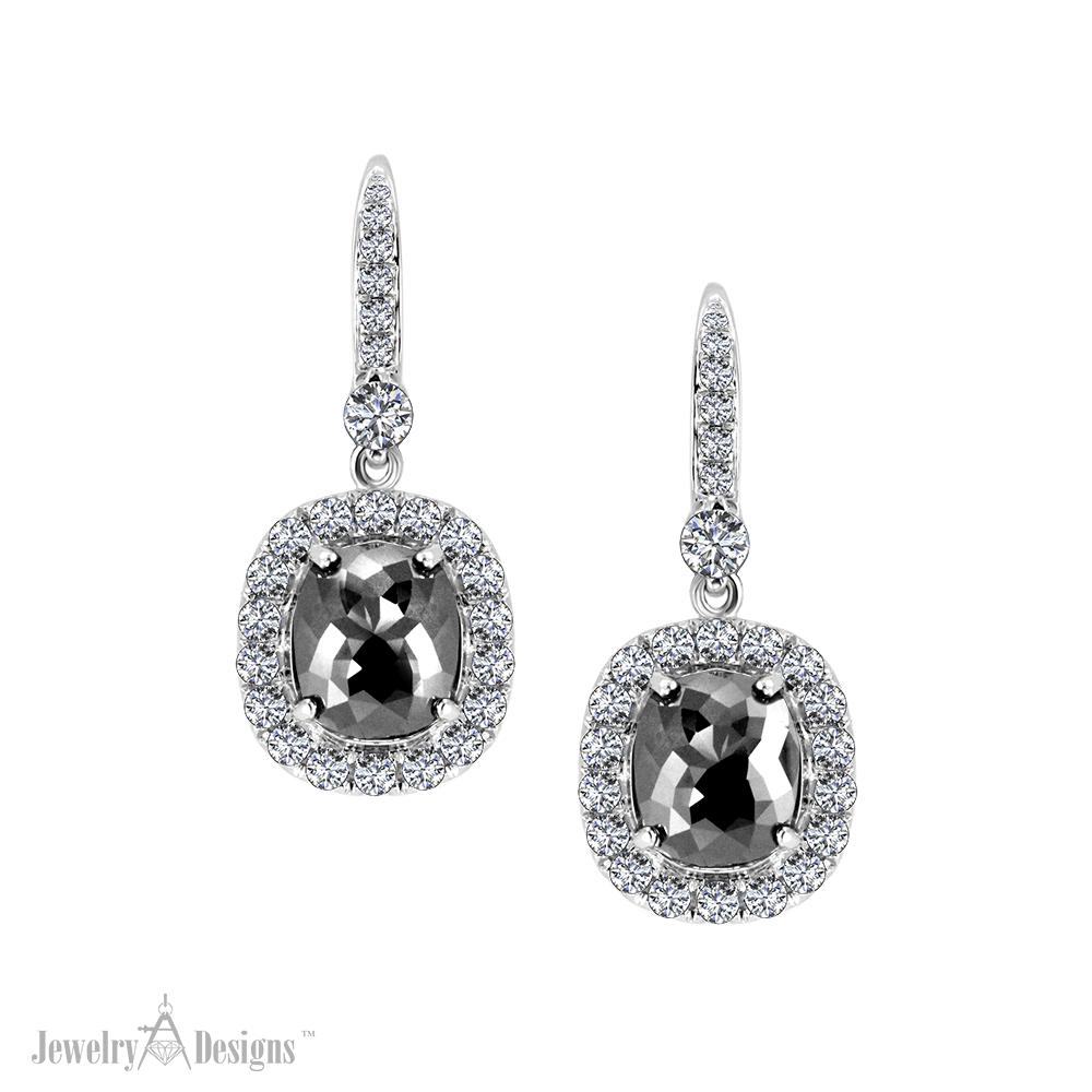ED467-1 Elegant Black Diamond Earrings