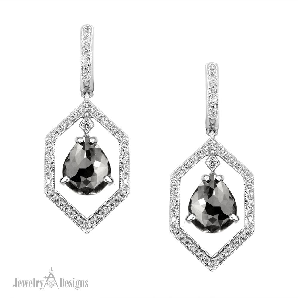 ED469-1 Dangle Black Diamond Earrings