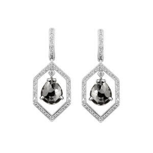Pear Shape Black Diamond Earrings