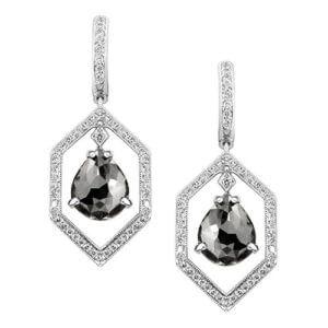 Pear Shape Black Diamond Earrings