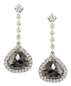 Black Diamond Dangle Earrings