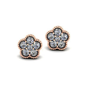 Milgrain Diamond Earrings