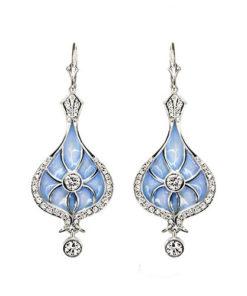 Blue Enamel Drop Earrings