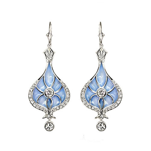 Blue Enamel Drop Earrings