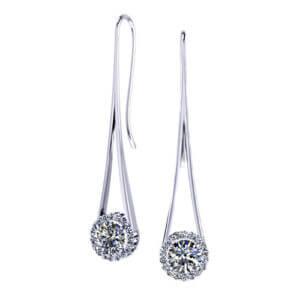 Diamond Halo Drop Earrings