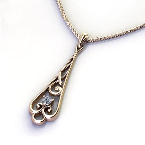 ED521-1 Diamond Scroll Drop Necklace