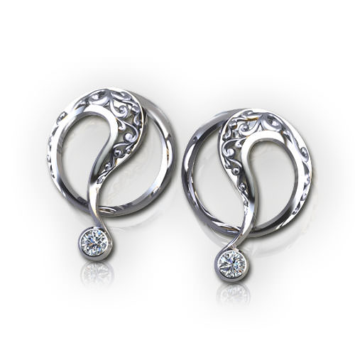 ED523-1-Filigree Circle Earrings
