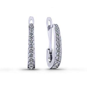 Diamond J Hoop Earrings