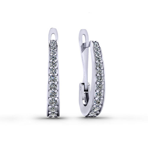 Diamond J Hoop Earrings