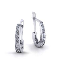 Clip Diamond J Hoop Earrings