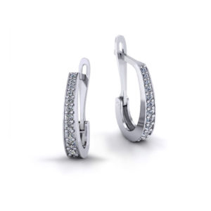 Clip Diamond J Hoop Earrings