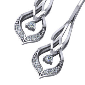 Chevron Diamond Drop Earrings