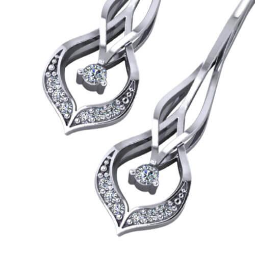 Chevron Diamond Drop Earrings