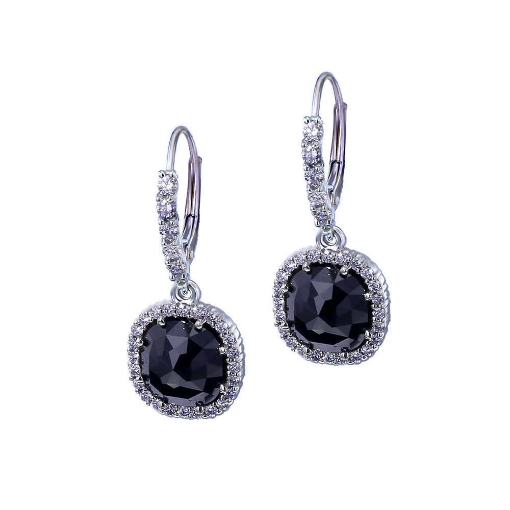 Dangle Black Diamond Earrings