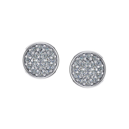 Pave Circle Diamond Earrings