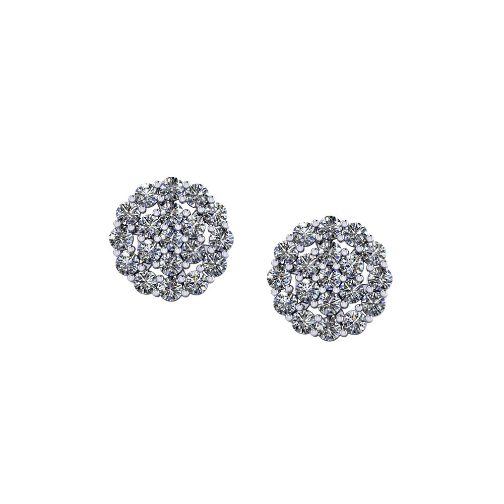 Circular Diamond Cluster Earrings