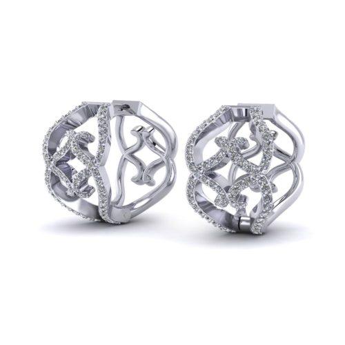 Wide Diamond Hoop Earrings