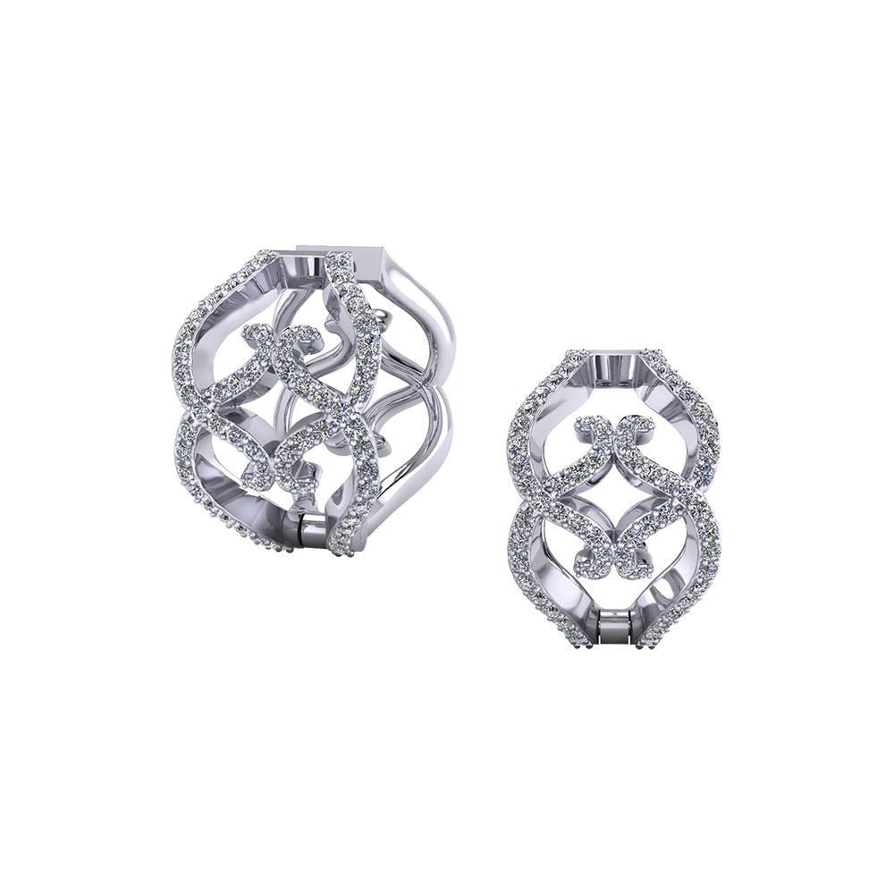Wide Diamond Hoop Earrings