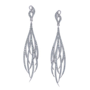 Diamond Feather Earrings
