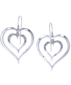 Diamond Heart Dangle Earrings