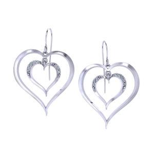 Diamond Heart Dangle Earrings