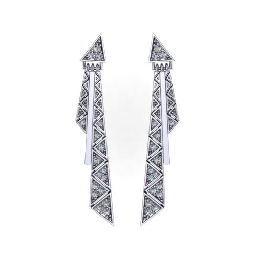 Triangular Diamond Tassel Earrings