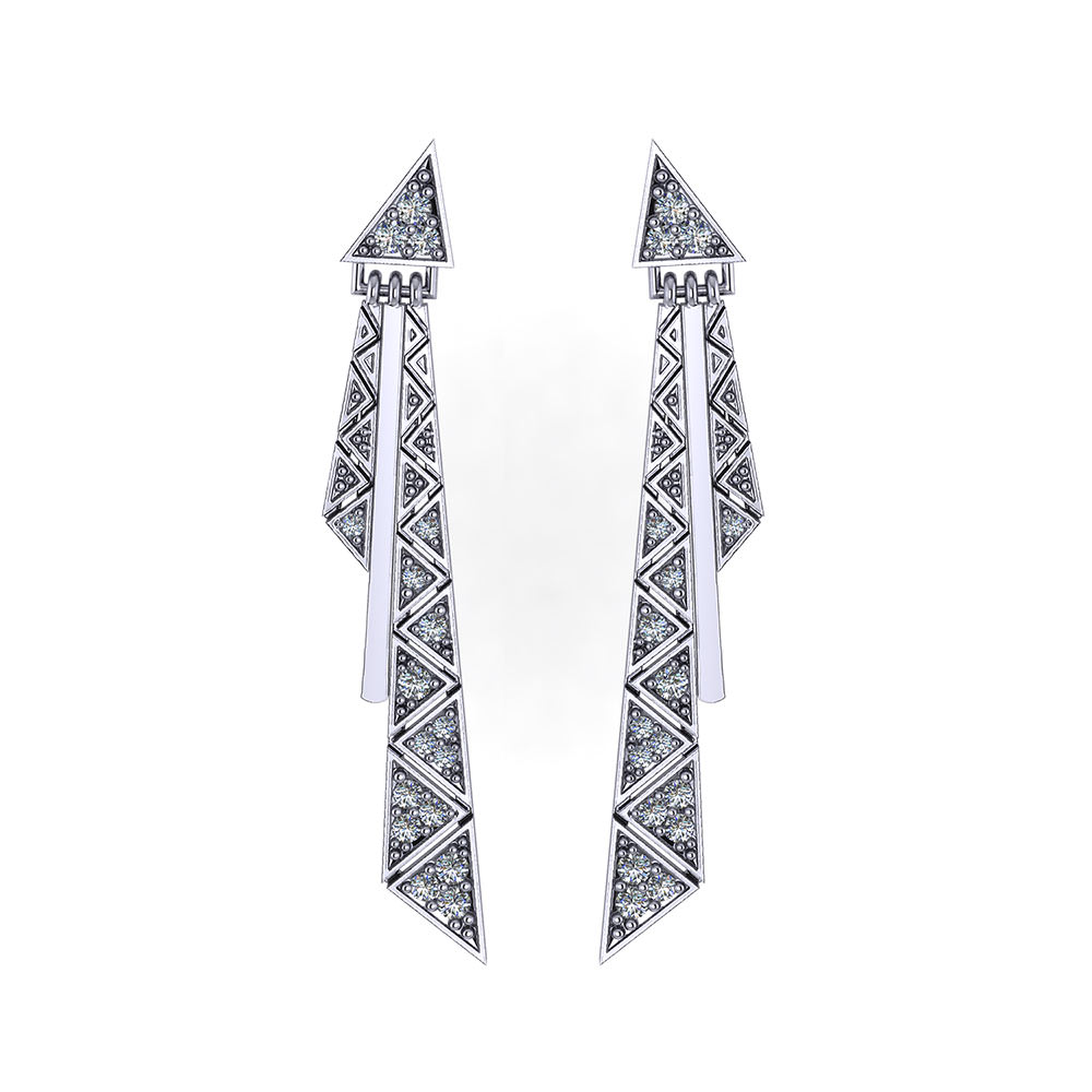 Triangular Diamond Tassel Earrings