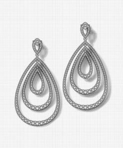 3 Tier Diamond Drop Earrings