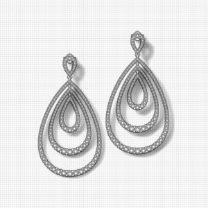 3 Tier Diamond Drop Earrings
