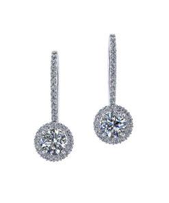 One Carat Dangle Halo Earrings
