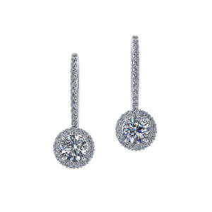 One Carat Dangle Halo Earrings