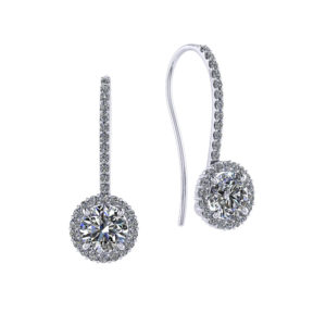 1.25 Carat Dangle Halo Earrings