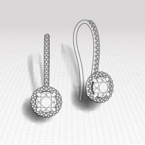 1.25 Carat Dangle Halo Earrings