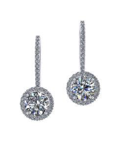 Two Carat Dangle Halo Earrings