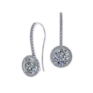 Two Carat Dangle Halo Earrings