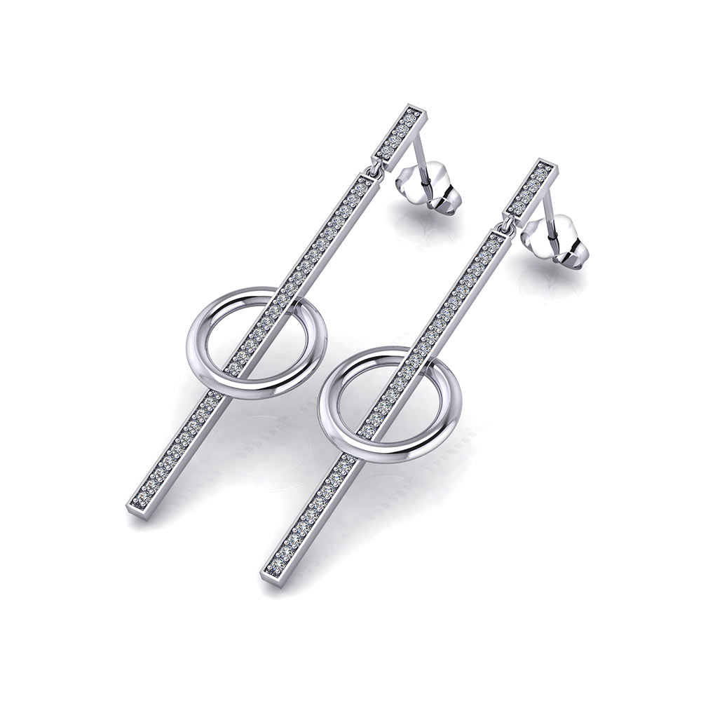 Circle Diamond Dangle Earrings